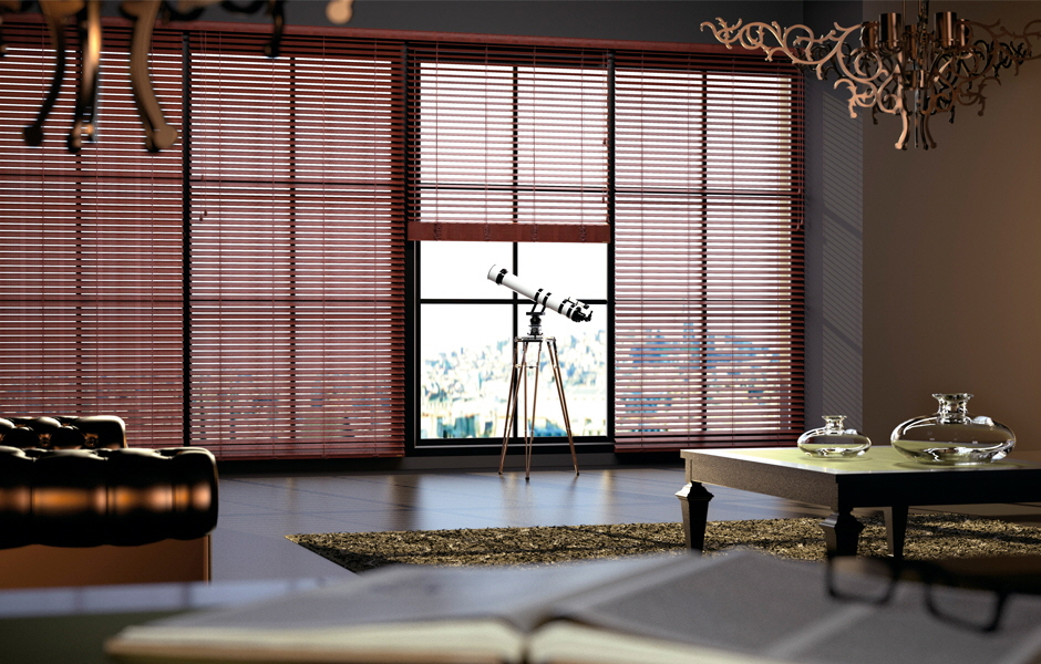 Abachi Venetian Blind - Valley (Leather)  Collection with 2 inch or 2 1/2 inch slats